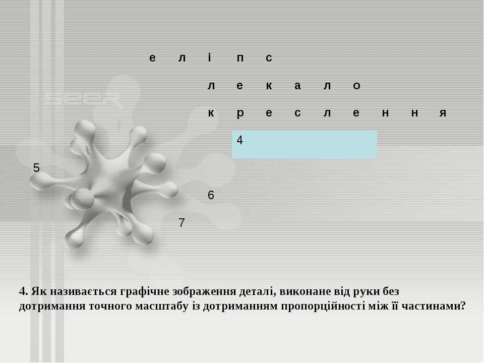 4. Як називається графічне зображення деталі, виконане від руки без дотриманн...