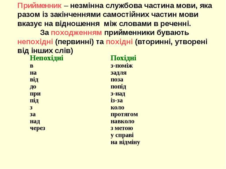 Прийменник – незмінна службова частина мови, яка разом із закінченнями самост...