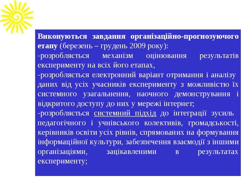 Виконуються завдання організаційно-прогнозуючого етапу (березень – грудень 20...