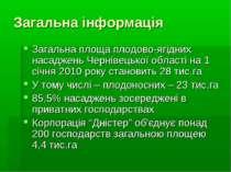 Загальна інформація Загальна площа плодово-ягідних насаджень Чернівецької обл...