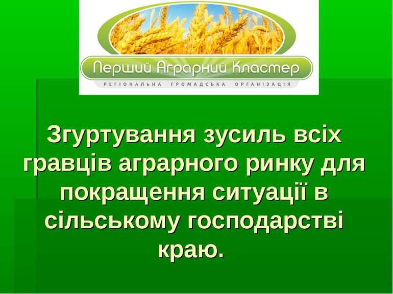 Згуртування зусиль всіх гравців аграрного ринку для покращення ситуації в сіл...