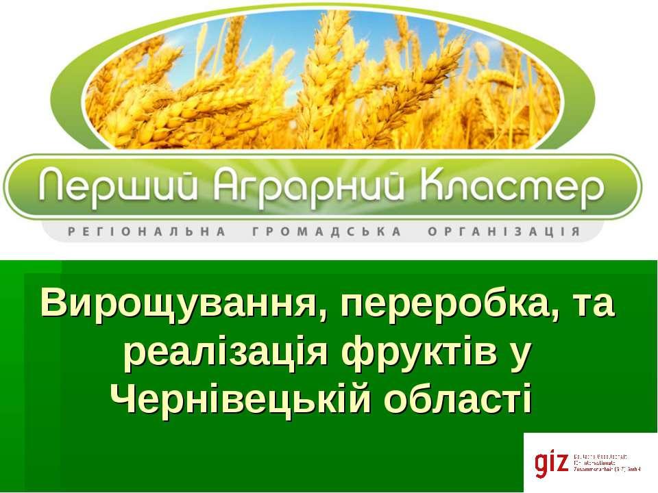 Вирощування, переробка, та реалізація фруктів у Чернівецькій області