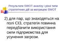 Результати SWOT-аналізу і різні типи стратегічних дій за матрицею SWOT 2) для...
