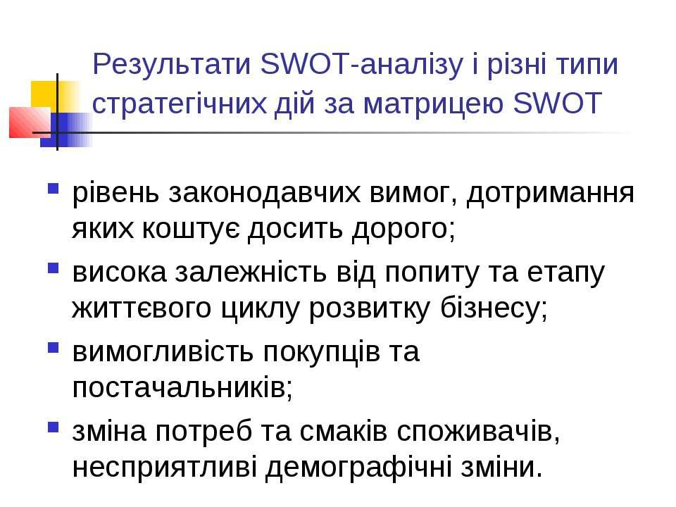 Результати SWOT-аналізу і різні типи стратегічних дій за матрицею SWOT рівень...