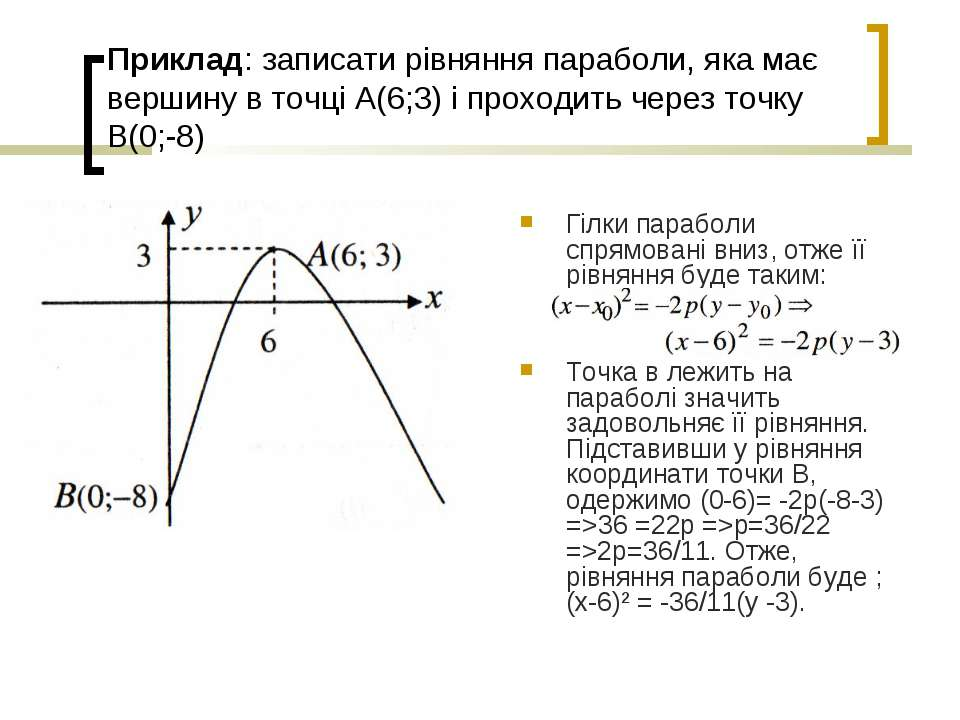 Приклад: записати рівняння параболи, яка має вершину в точці А(6;3) і проходи...