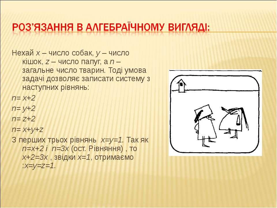 Нехай x – число собак, y – число кішок, z – число папуг, а n – загальне число...