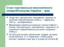 Стан торговельно-економічного співробітництва Україна – Ірак Угода про торгов...