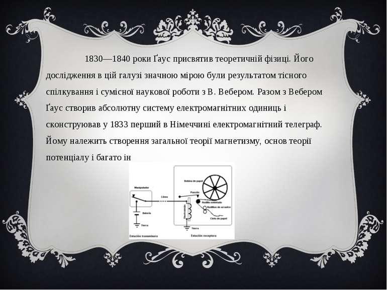 1830—1840 роки Ґаус присвятив теоретичній фізиці. Його дослідження в цій галу...