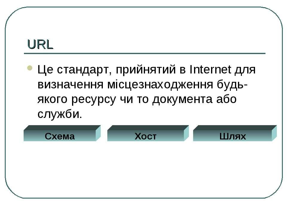 URL Це стандарт, прийнятий в Internet для визначення місцезнаходження будь-як...