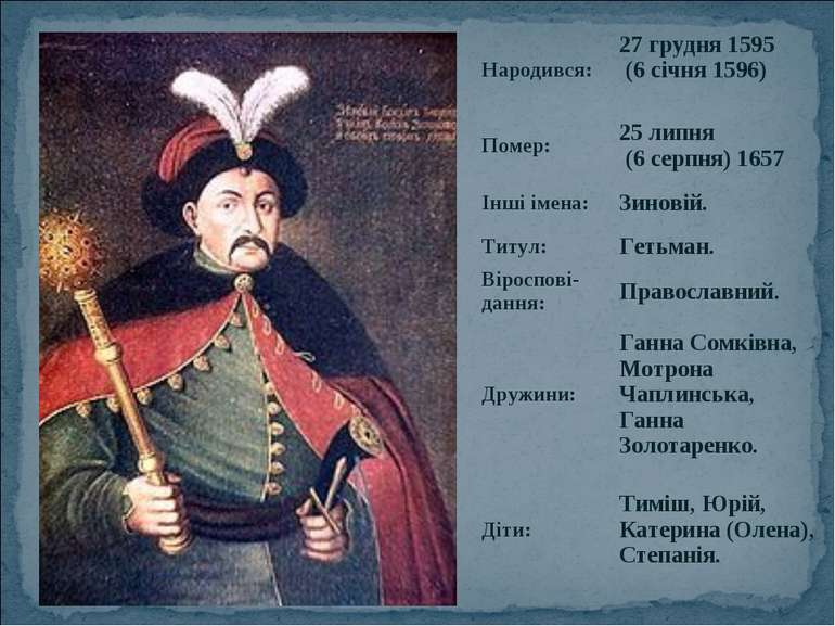 Народився: 27 грудня 1595 (6 січня 1596) Помер: 25 липня (6 серпня) 1657 Інші...