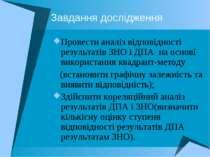 Завдання дослідження Провести аналіз відповідності результатів ЗНО і ДПА на о...