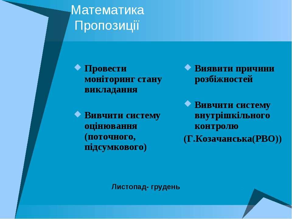 Математика Пропозиції Провести моніторинг стану викладання Вивчити систему оц...