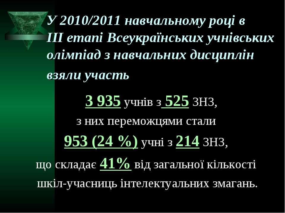 У 2010/2011 навчальному році в ІІІ етапі Всеукраїнських учнівських олімпіад з...