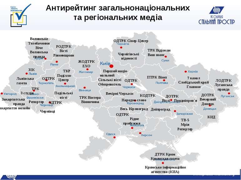 Антирейтинг загальнонаціональних та регіональних медіа Перший націо- нальний ...