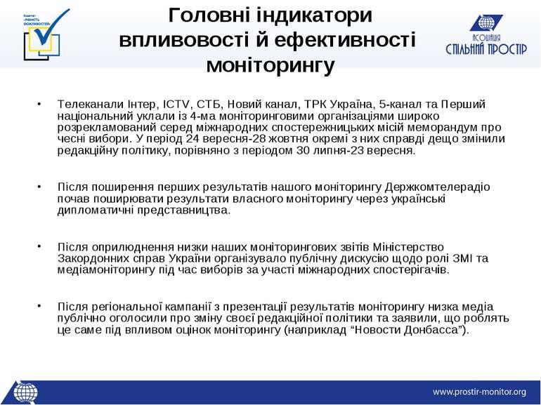 Головні індикатори впливовості й ефективності моніторингу Телеканали Інтер, I...