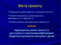 Мета проекту: Покращити демографічну ситуацію в області Знизити малюкову захв...