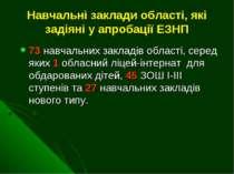 Навчальні заклади області, які задіяні у апробації ЕЗНП 73 навчальних закладі...