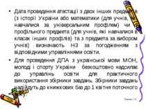 Дата проведення атестації з двох інших предметів (з історії України або матем...