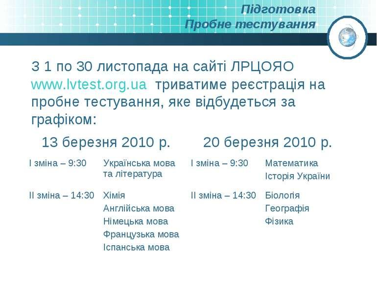 Підготовка Пробне тестування З 1 по 30 листопада на сайті ЛРЦОЯО www.lvtest.o...