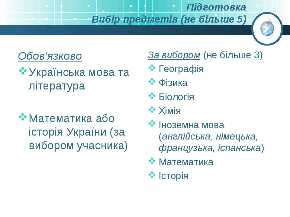 Підготовка Вибір предметів (не більше 5) Обов'язково Українська мова та літер...