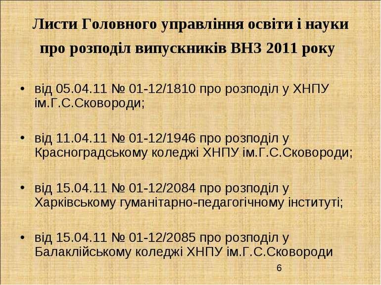 Листи Головного управління освіти і науки про розподіл випускників ВНЗ 2011 р...