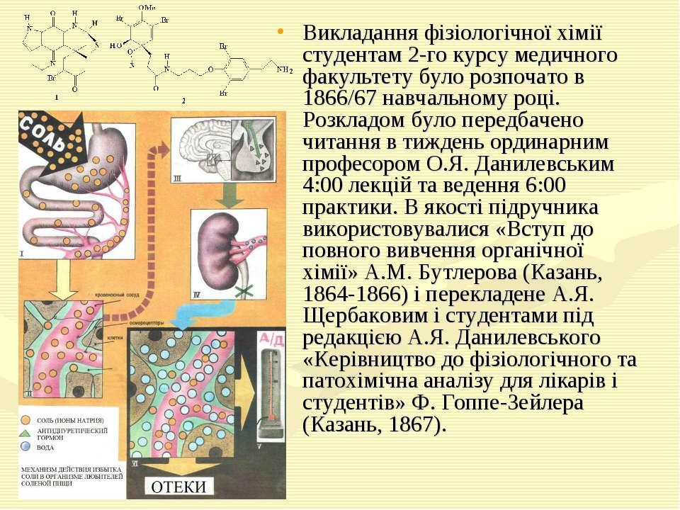 Викладання фізіологічної хімії студентам 2-го курсу медичного факультету було...