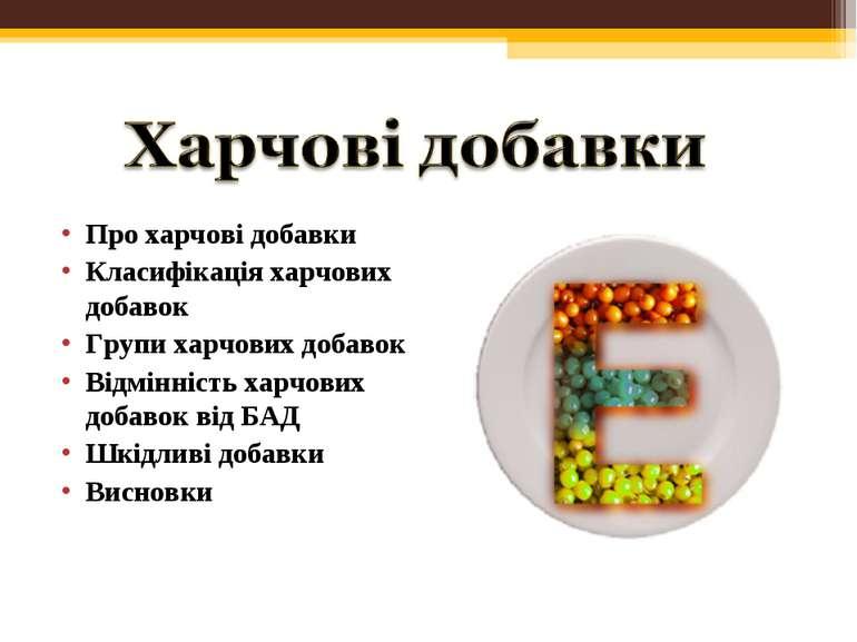Про харчові добавки Класифікація харчових добавок Групи харчових добавок Відм...