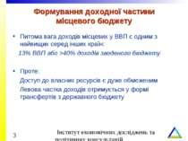 Формування доходної частини місцевого бюджету Питома вага доходів місцевих у ...