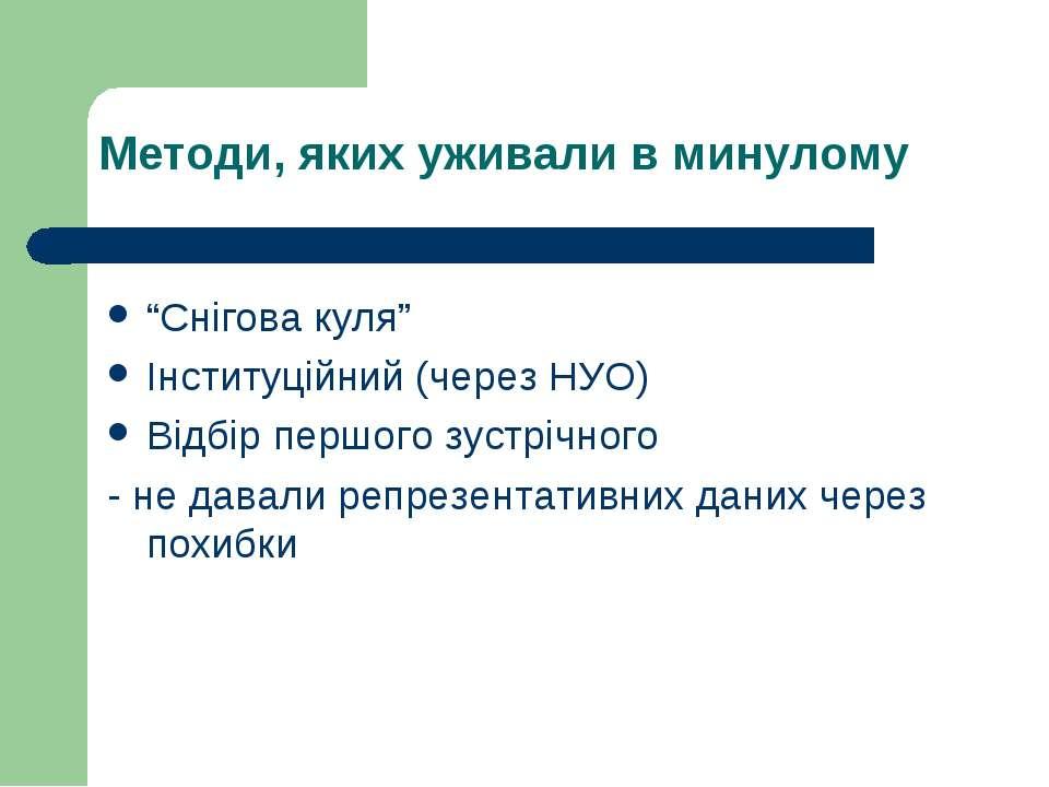 """Методи, яких уживали в минулому """"Снігова куля"""" Інституційний (через НУО) Відб..."""