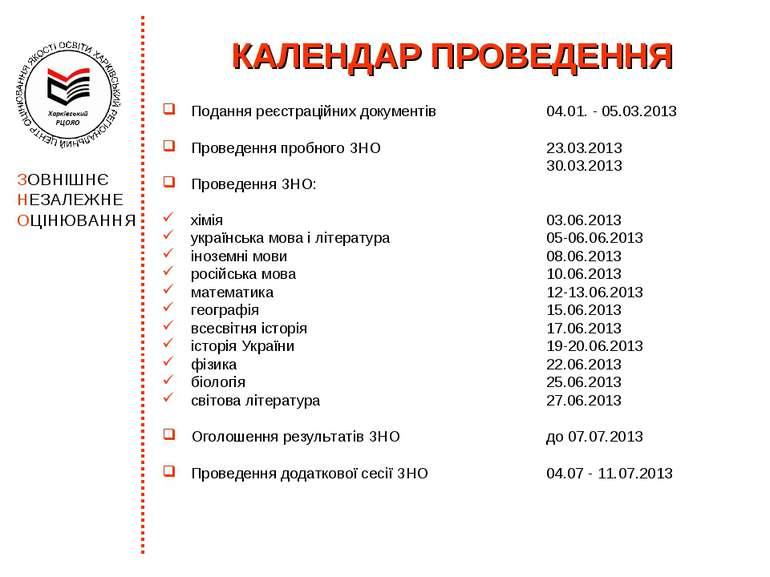 КАЛЕНДАР ПРОВЕДЕННЯ Подання реєстраційних документів 04.01. - 05.03.2013 Пров...