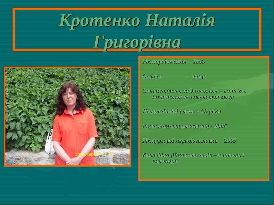 Кротенко Наталія Григорівна Рік народження - 1963 Освіта - вища Спеціальність...