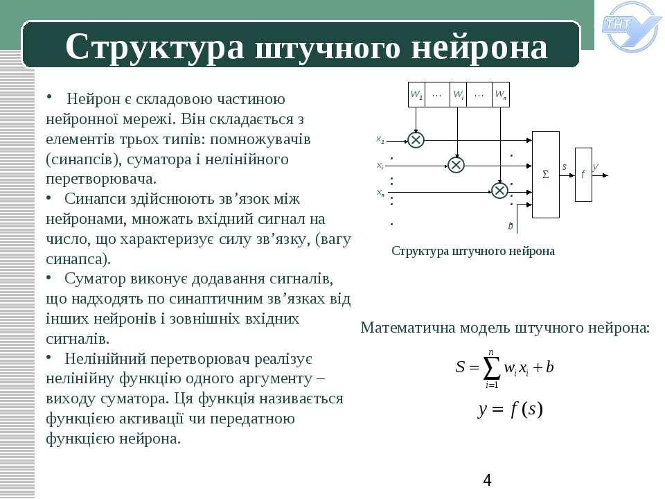 Структура штучного нейрона Структура штучного нейрона Нейрон є складовою част...