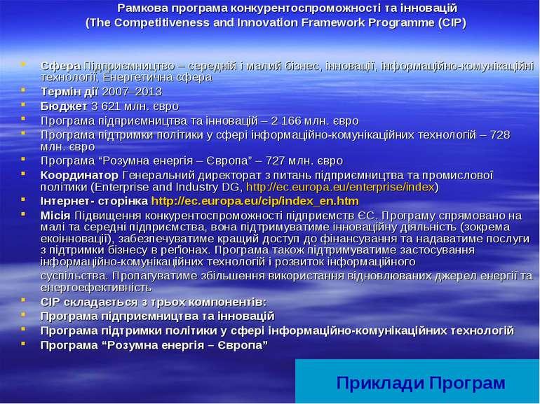Рамкова програма конкурентоспроможності та інновацій (The Competitiveness and...