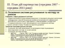 ІІІ. План дій партнерства (середина 2007 – середина 2011 року) 2. Посилення с...