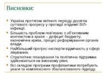 Висновки: Україна протягом звітного періоду досягла суттєвого прогресу у прот...