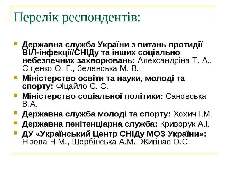 Перелік респондентів: Державна служба України з питань протидії ВІЛ-інфекції/...