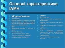 Основні характеристики ІАМН Моделювання Визначення: Наочне зображення різними...