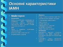 Основні характеристики ІАМН Майстерня Визначення: Робота в малій групі, спрям...