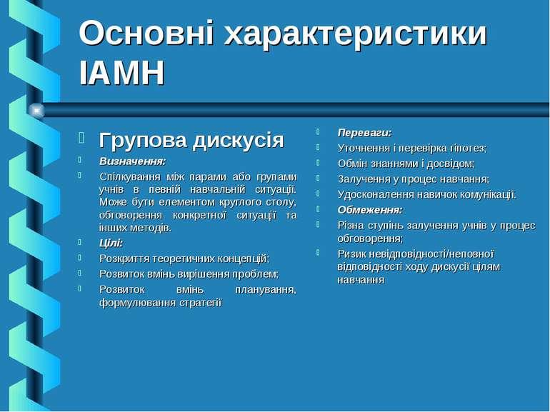 Основні характеристики ІАМН Групова дискусія Визначення: Спілкування між пара...