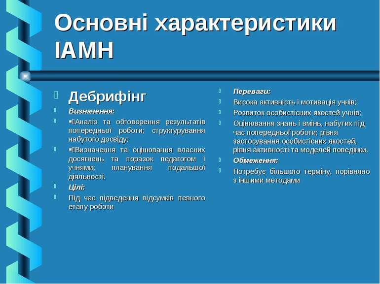 Основні характеристики ІАМН Дебрифінг Визначення: § Аналіз та обговорення рез...
