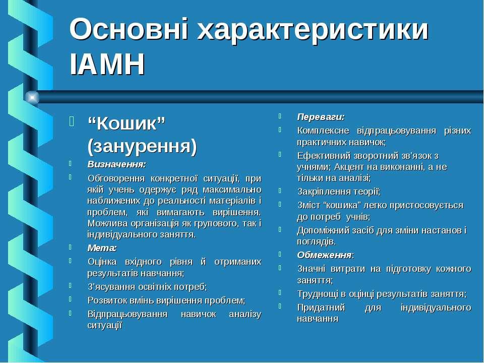 """Основні характеристики ІАМН """"Кошик"""" (занурення) Визначення: Обговорення конкр..."""