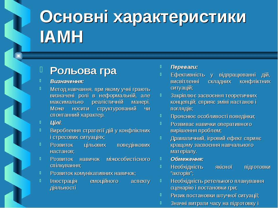 Основні характеристики ІАМН Рольова гра Визначення: Метод навчання, при якому...