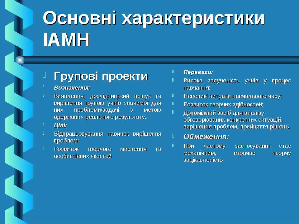 Основні характеристики ІАМН Групові проекти Визначення: Виявлення, дослідниць...