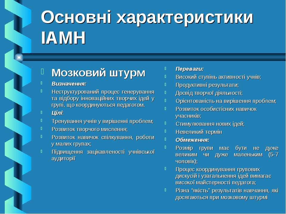 Основні характеристики ІАМН Мозковий штурм Визначення: Неструктурований проце...