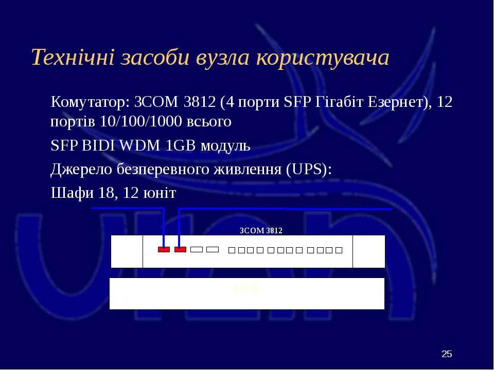 Технічні засоби вузла користувача Комутатор: 3COM 3812 (4 порти SFP Гігабіт Е...