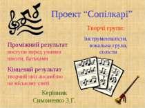 """Проект """"Сопілкарі"""" Творчі групи: Інструменталісти, вокальна група, солісти Пр..."""