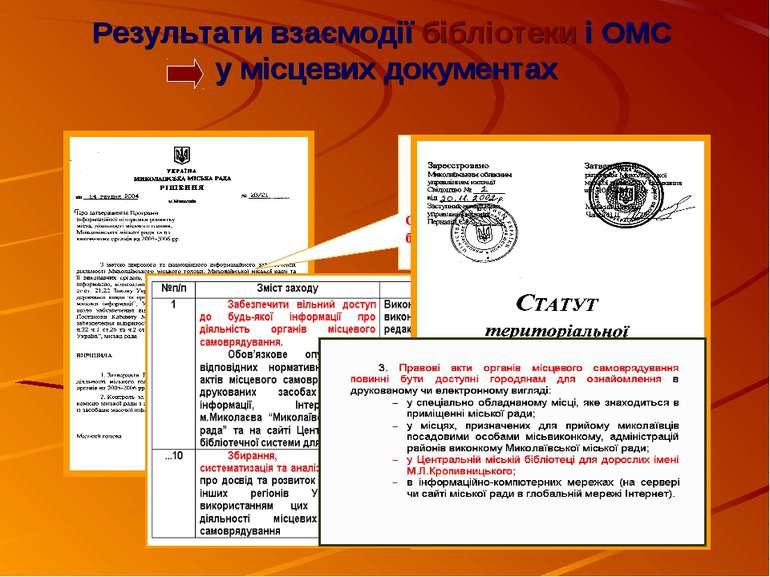 Результати взаємодії бібліотеки і ОМС у місцевих документах Розробник Програм...