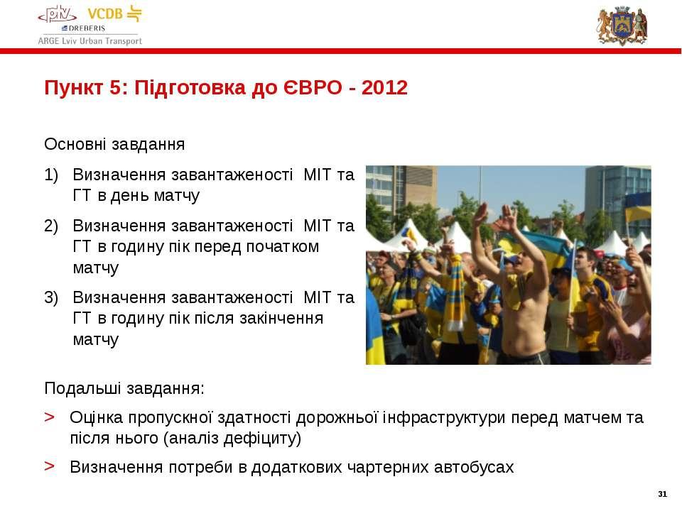 * * Пункт 5: Підготовка до ЄВРО - 2012 Основні завдання Визначення завантажен...