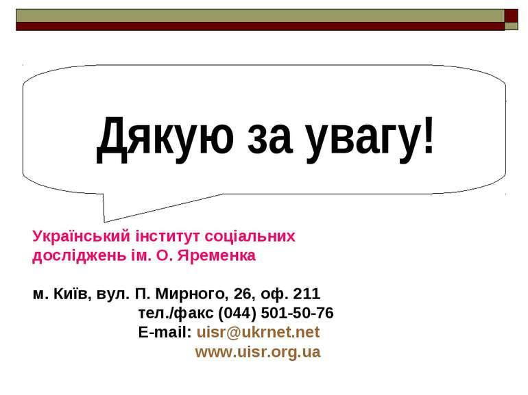 Дякую за увагу! Український інститут соціальних досліджень ім. О. Яременка м....