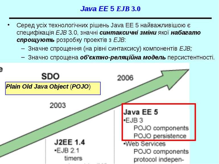 Java EE 5 EJB 3.0 Серед усіх технологічних рішень Java EE 5 найважливішою є с...